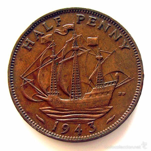 Monedas antiguas de Europa: MONEDAS DEL MUNDO . INGLATERRA . GEORGIUS VI . HALF PENNY 1943 . MBC - Foto 2 - 60268127
