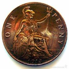 Monedas antiguas de Europa: MONEDAS DEL MUNDO . INGLATERRA . GEORGIUS V . 1 PENNY 1913 . EBC-. Lote 60268615