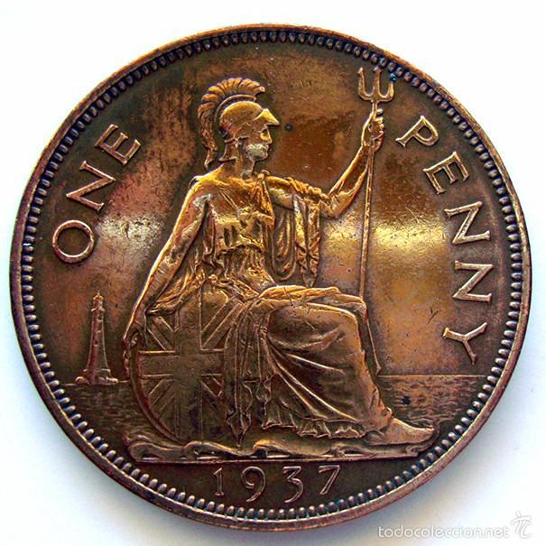 Monedas antiguas de Europa: MONEDAS DEL MUNDO . INGLATERRA . GEORGIUS VI . 1 PENNY 1937 . MBC+ - Foto 2 - 60270995