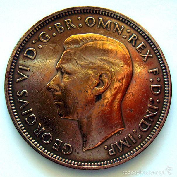 MONEDAS DEL MUNDO . INGLATERRA . GEORGIUS VI . 1 PENNY 1945 . MBC- (Numismática - Extranjeras - Europa)