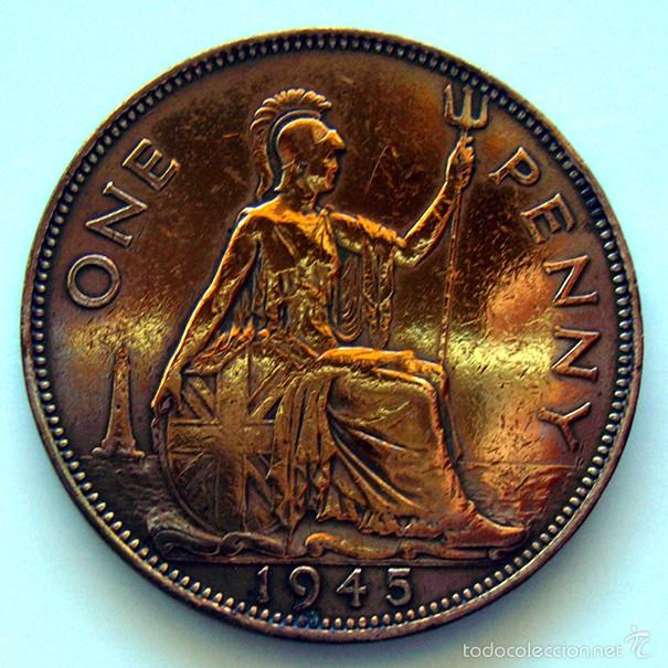 Monedas antiguas de Europa: MONEDAS DEL MUNDO . INGLATERRA . GEORGIUS VI . 1 PENNY 1945 . MBC- - Foto 2 - 60271263