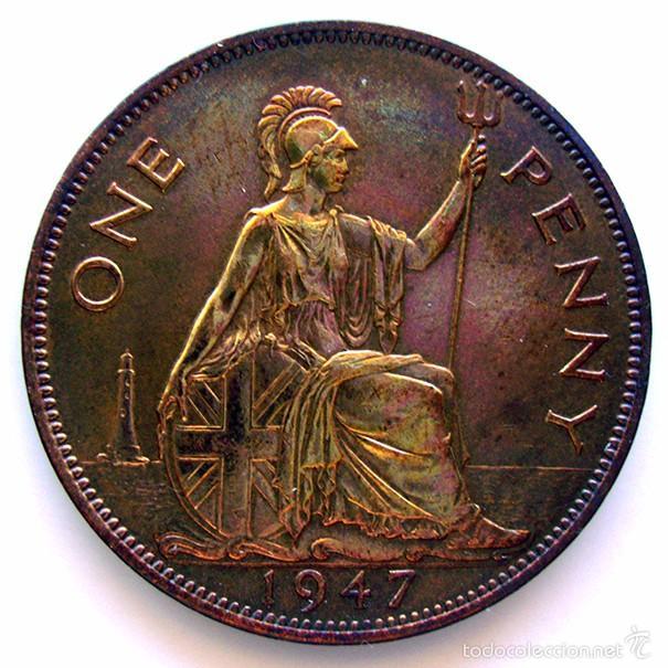 Monedas antiguas de Europa: MONEDAS DEL MUNDO . INGLATERRA . GEORGIUS VI . 1 PENNY 1947 . EBC+ - Foto 2 - 60271451