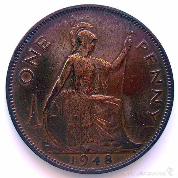 Monedas antiguas de Europa: MONEDAS DEL MUNDO . INGLATERRA . GEORGIUS VI . 1 PENNY 1948 . MBC - Foto 2 - 60271547