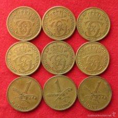 Monedas antiguas de Europa: DINAMARCA 9 MONEDAS X 1 KR 1925 1926 1929 1934 1939 1940 1942 1946 1947. Lote 60381739