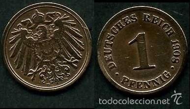 IMPERIO ALEMAN 1 PFENNIG AÑO 1908 D ( AGUILA ) Nº2 (Numismática - Extranjeras - Europa)