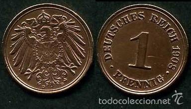 IMPERIO ALEMAN 1 PFENNIG AÑO 1908 D ( AGUILA ) Nº5 (Numismática - Extranjeras - Europa)