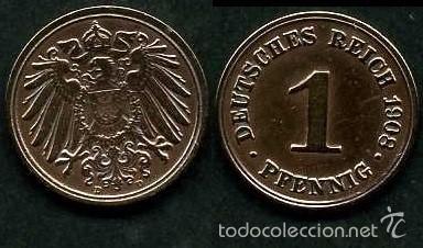IMPERIO ALEMAN 1 PFENNIG AÑO 1908 D ( AGUILA ) Nº6 (Numismática - Extranjeras - Europa)