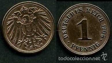 IMPERIO ALEMAN 1 PFENNIG AÑO 1908 D ( AGUILA ) Nº7 (Numismática - Extranjeras - Europa)