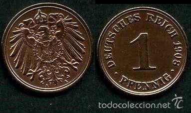 IMPERIO ALEMAN 1 PFENNIG AÑO 1908 A ( AGUILA ) Nº3 (Numismática - Extranjeras - Europa)