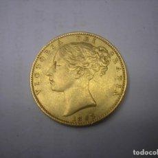 Monedas antiguas de Europa: GRAN BRETAÑA, 1 LIBRA DE ORO CON ESCUDO DE 1863, REINA VICTORIA. Lote 61393911