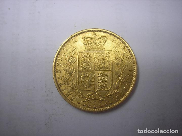 Monedas antiguas de Europa: GRAN BRETAÑA, 1 LIBRA DE ORO CON ESCUDO DE 1863, REINA VICTORIA - Foto 2 - 61393911