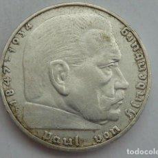 Monedas antiguas de Europa: 2 MARCOS DE PLATA DE 1937 CECA F, ALEMANIA NAZI, MARISCAL PAUL VON HINDENBURG. Lote 62381900