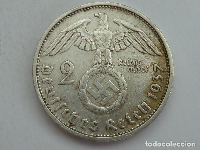 Monedas antiguas de Europa: 2 MARCOS de plata de 1937 CECA F, Alemania Nazi, MARISCAL PAUL VON HINDENBURG - Foto 2 - 62381900