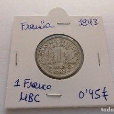 Monedas antiguas de Europa: FRANCIA 1 FRANCO 1943. Lote 115432934