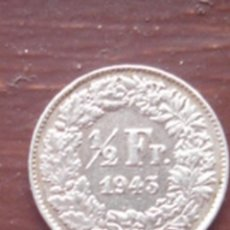 Monedas antiguas de Europa: SUIZA. 1/2 FRANCO DE PLATA DE 1943 (HELVECIA DE PIE).. Lote 62737472