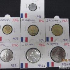 Monedas antiguas de Europa: FRANCIA 1,5,10,20 CENTIMES , 1,2,5 FRANCS 1964-1996 KM928-933-929-930-925.1-942.1-926A.2 SC. Lote 64139991