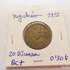 Monedas antiguas de Europa: YUGOSLAVIA 20 DINARA 1955. Lote 64614755