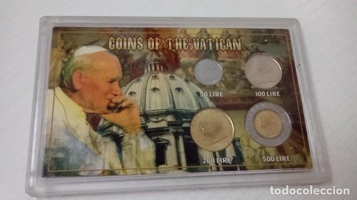 INTERESANTE BLISTER DE MONEDAS DEL VATICANO DE 1996 CON IMAGEN DEL PAPA JUAN PABLO II (Numismática - Extranjeras - Europa)