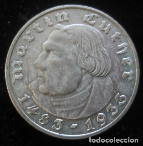 MONEDA EN PLATA DE 2 REICHSMARK AÑO 1933 CONMEMORATIVA AL 450 ANIVERSARIO DE MARTIN LUTHER (Numismática - Extranjeras - Europa)