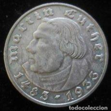 Monedas antiguas de Europa: MONEDA EN PLATA DE 2 REICHSMARK AÑO 1933 CONMEMORATIVA AL 450 ANIVERSARIO DE MARTIN LUTHER. Lote 65850178