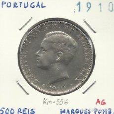 Monedas antiguas de Europa: PORTUGAL 500 REIS PLATA 1910 CONMEMORATIVA MARQUES DE POMBAL. Lote 71119049