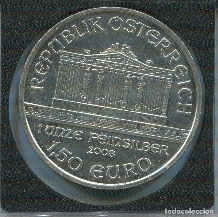 AUSTRIA 2008 1,50€ ONZA DE PLATA PURA FILARMONICA DE VIENA