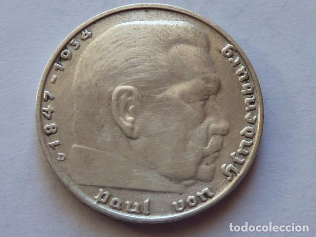 Monedas antiguas de Europa: MONEDA DE PLATA 2 MARCOS 1937 CECA D, Alemania Nazi, MARISCAL PAUL VON HINDENBURG - Foto 2 - 71854671