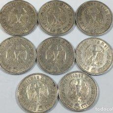 Monedas antiguas de Europa: ALEMANIA NAZI LOTE 8 MONEDAS DE 5 MARCOS 1935 PLATA 0.900. Lote 72125691