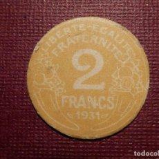 Monedas antiguas de Europa: CARTÓN MONEDA - FRANCIA - 2 FRANCS - AÑO 1931 - 26 MM. DE DIÁMETRO - SIN DETERMINAR POR COMPLETO . Lote 72428059