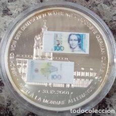 Monedas antiguas de Europa: MONEDA PLATA CON LA IMAGEN DE UN BILLETE DE 100 DM ALEMAN DE CLARA SCHUMANN DESPIDE MONEDA ALEMANA. Lote 73563003