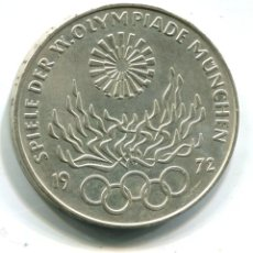 Monedas antiguas de Europa: ALEMANIA. OLIMPIADA DE MUNICH. 10 MARCOS 1972. PLATA. Lote 74081975