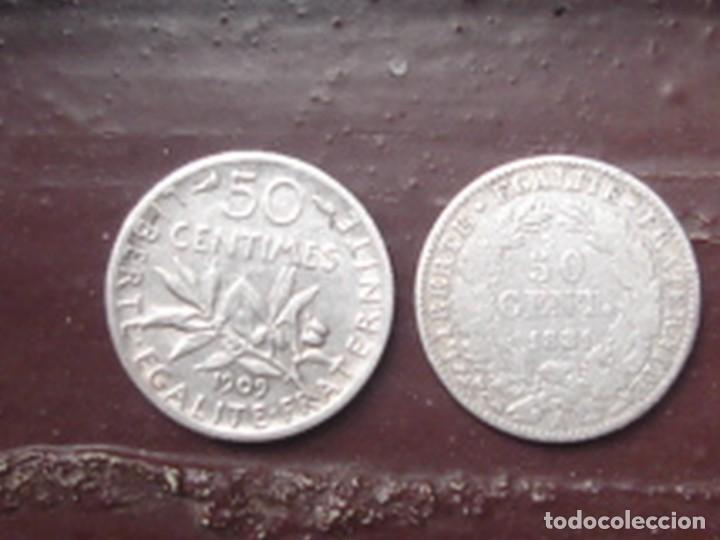 Monedas antiguas de Europa: Francia. Tercera república. 2 x moneda de 50 céntimos de plata. 1881 (Ceres) y 1909 (Sembradora) - Foto 2 - 75309151
