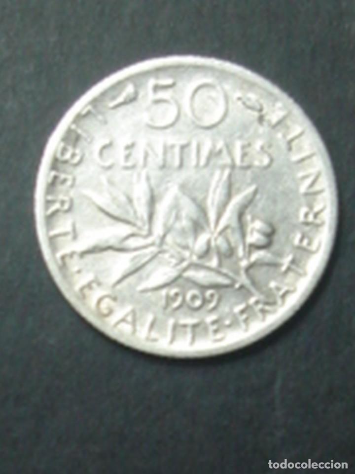 Monedas antiguas de Europa: Francia. Tercera república. 2 x moneda de 50 céntimos de plata. 1881 (Ceres) y 1909 (Sembradora) - Foto 5 - 75309151