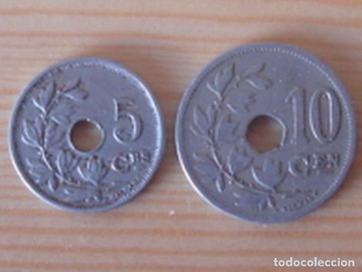 BÉLGICA. LEOPOLDO II. 10 CÉNTIMOS 1902 EN NEERLANDÉS. ALBERTO I. 5 CÉNTIMOS 1913 EN FRANCÉS (Numismática - Extranjeras - Europa)