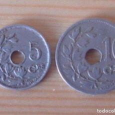 Monedas antiguas de Europa: BÉLGICA. LEOPOLDO II. 10 CÉNTIMOS 1902 EN NEERLANDÉS. ALBERTO I. 5 CÉNTIMOS 1913 EN FRANCÉS. Lote 76043063