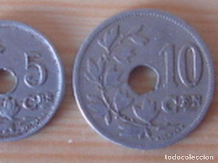 Monedas antiguas de Europa: Bélgica. Leopoldo II. 10 céntimos 1902 en neerlandés. Alberto I. 5 céntimos 1913 en francés - Foto 2 - 76043063