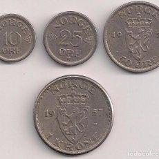 Monedas antiguas de Europa: NORUEGA - SERIE DE 4 MONEDAS 1957. Lote 76725103