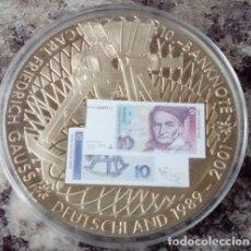 Monedas antiguas de Europa: GRAN MONEDA PLATA CON LA IMAGEN DE UN BILLETE DE 10 MARCOS ALEMANIA DIAMETRO 50MM. Lote 76767001
