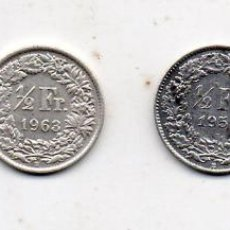 Monedas antiguas de Europa: LOTE DE 4 MONEDAS DE SUIZA. 1/2 FRANCO DE PLATA.. Lote 76984253