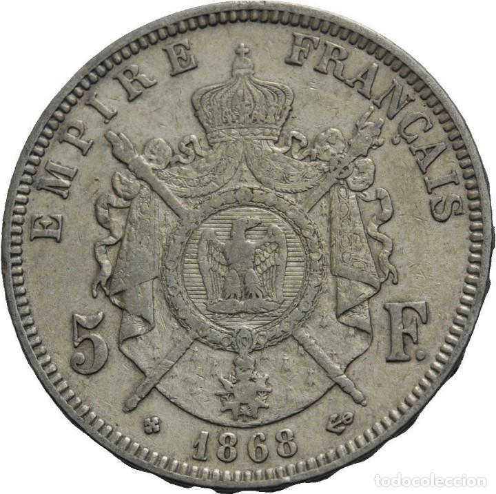 Monedas antiguas de Europa: Francia 5 francos 1868 bb strassbourg Napoleón III - Foto 2 - 77739217
