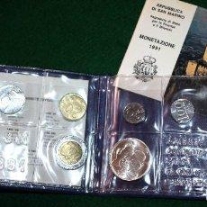 Monedas antiguas de Europa: SAN MARINO 1991 ESTUCHE OFICIAL 10 MONEDAS, CONTIENE LAS 1000 LIRAS DE PLATA CON GARANTÍA Y CERTIFIC. Lote 78950333