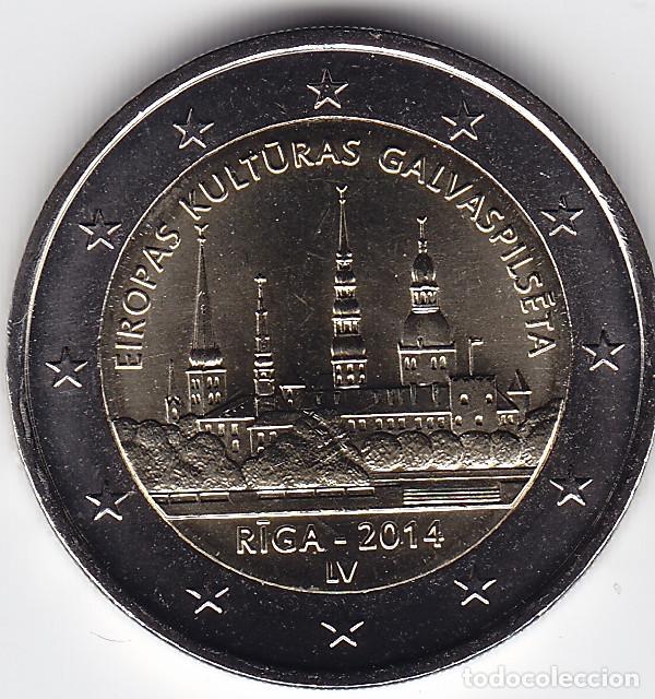 2 € EUROS - LETONIA 2014 - RIGA, CAPITAL EUROPEA DE LA CULTURA - PEDROIG - SIN CIRCULAR (Numismática - Extranjeras - Europa)