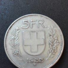 Monedas antiguas de Europa: SUIZA ESCASA MONEDA DE SUIZA. CONFOEDERATIO HELVETICA 1933 B VALOR 5 FR. PLATA 15GR-31MM. EBC- . Lote 79980498