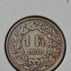 Monedas antiguas de Europa: MONEDA DE 1 FRANCO. SUIZA. AÑO 1939. PLATA. MBC. Lote 79986486