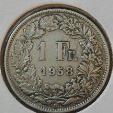 Monedas antiguas de Europa: MONEDA DE 1 FRANCO. SUIZA. AÑO 1958. PLATA. MBC. Lote 79986685