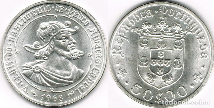 PORTUGAL 50 ESCUDOS PLATA 1968 PEDRO ALVAREZ S/C KM. 593 (Numismática - Extranjeras - Europa)