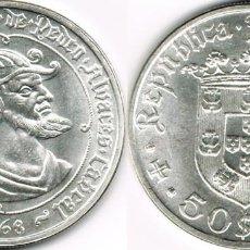 Monedas antiguas de Europa: PORTUGAL 50 ESCUDOS PLATA 1968 PEDRO ALVAREZ S/C KM. 593. Lote 80597906
