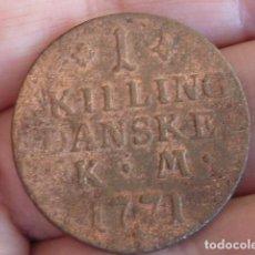 Monedas antiguas de Europa: ESCASA MONEDA DE 1 SKILLING DE DINAMARCA DE 1771, REY CHRISTIAN VII. Lote 81683516