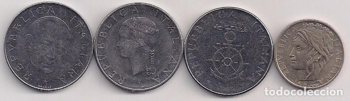 ITALIA - 4 MONEDAS CONMEMORATIVAS DE 1 LIRA - 1974-79-81-95 - KM#102-106-108-180 (Numismática - Extranjeras - Europa)