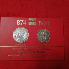 Monedas antiguas de Europa: PRECIOSAS MONEDAS SIN CIRCULAR SLANDIA 1974 500 Y 1000 KRONUR 1974 PLATA LEY 925 ESTUCHE 170 EUROS. Lote 82127660